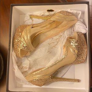 "Bebe Gold Heels - ""Illuma"" Size 6"